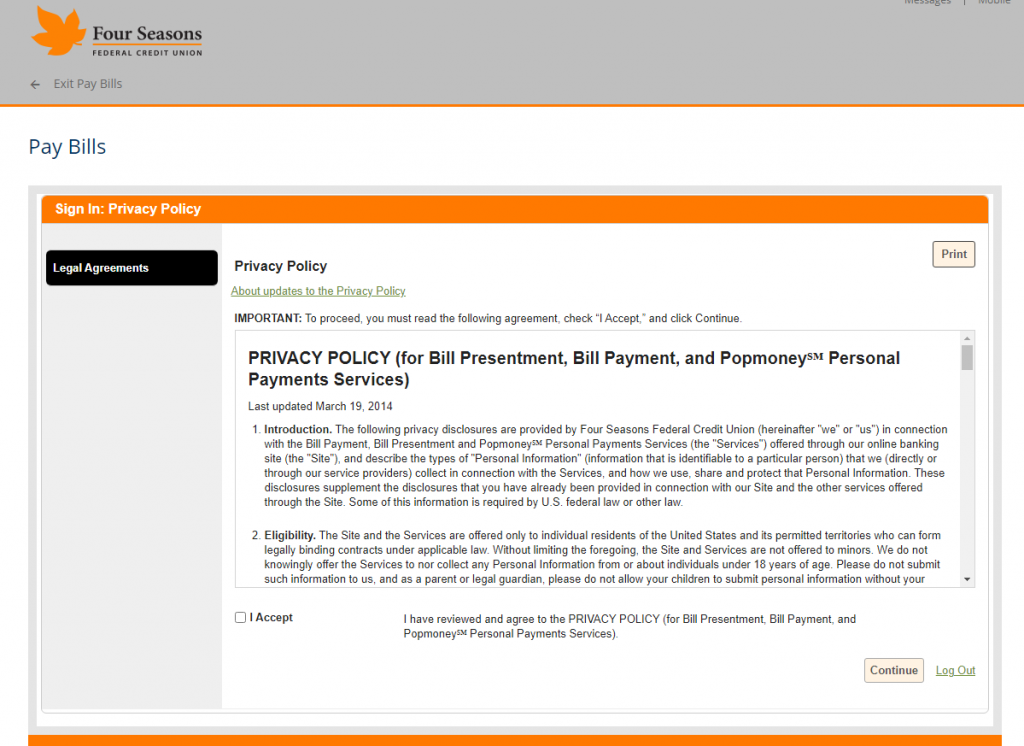 Screenshot showing the Bill Pay Privacy Policy.
