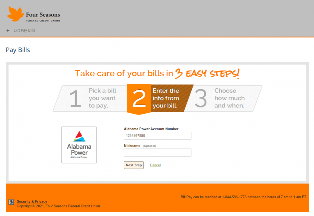 Screenshot showing the second step of Bill Pay setup.