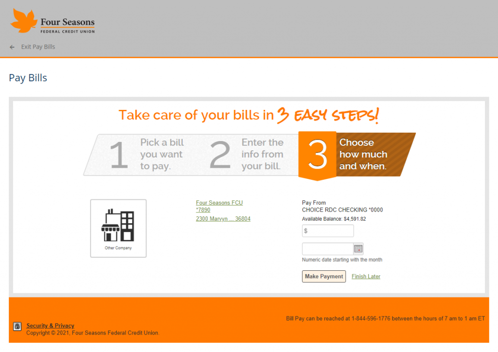 Screenshot showing the third page of Bill Pay setup.