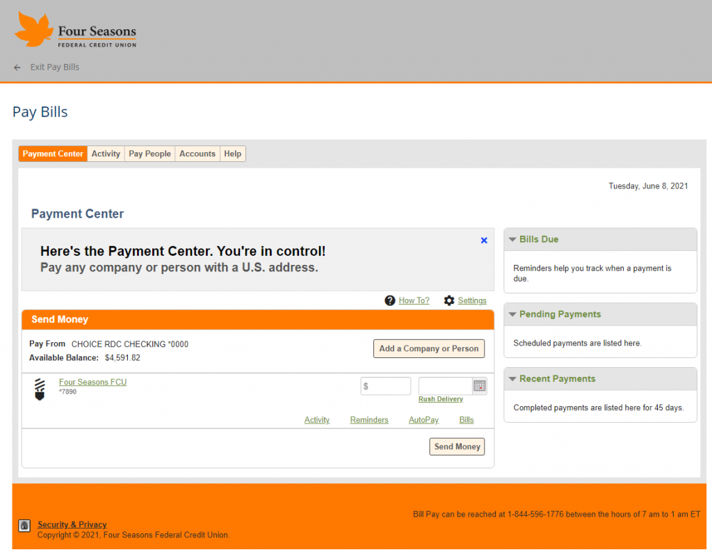Screenshot showing the overview page for Bill Pay.