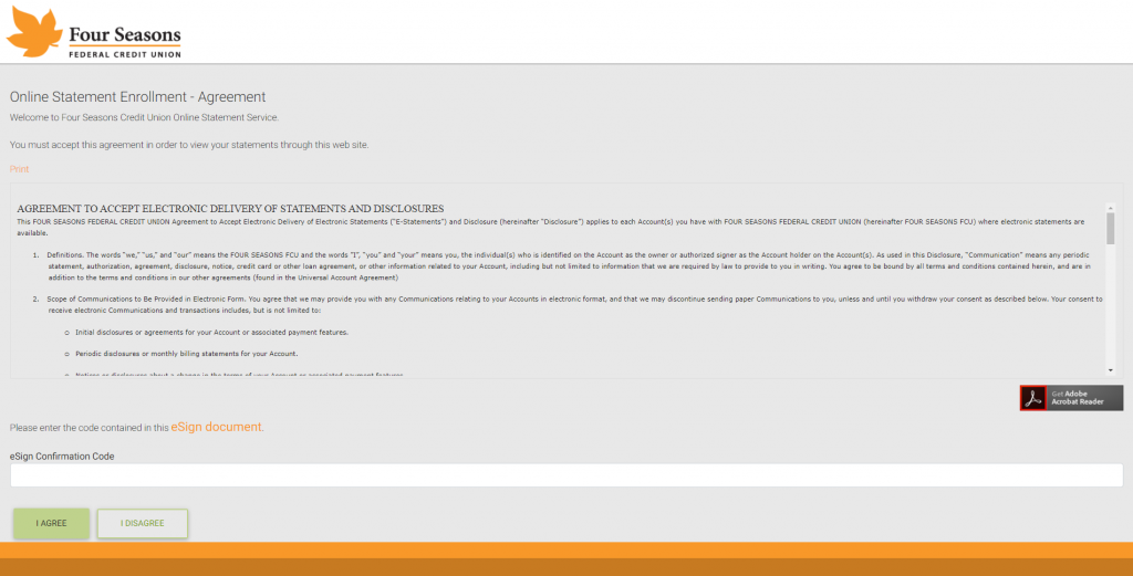 Screenshot of the eStatements portal showing the account agreement.