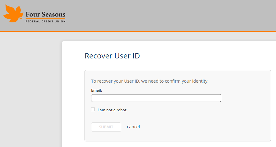 Screenshot showing the Online Banking User ID recovery page.
