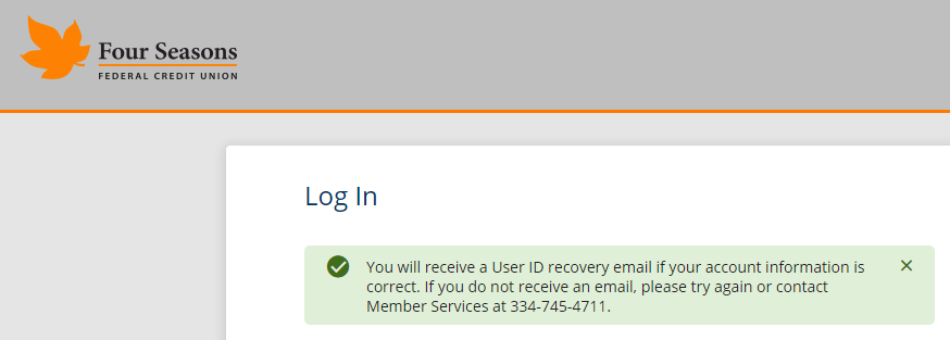 Screenshot showing successful user ID recovery message.